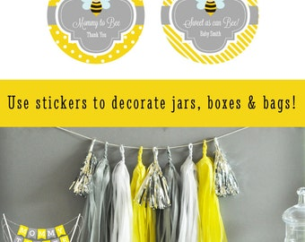 Bumble Bee Labels - What will it be labels -  Bumble Bee Stickers Honey Bee Stickers - Bumble Bee Baby Shower Labels (EB4007B) - set of 24|