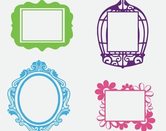 Wall Vinyl Picture Frame Decals - Set of 4 Art Frames