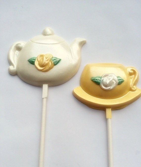 Yellow Tea Party Favors Teacup And Teapot Chocolate Lollipops