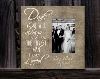 Father of the Bride Picture Frame, Personalized for him, Father Daughter Wedding Frame, gift for dad, Wedding day gift, Gifts for him