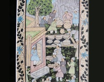 Antique Indian Miniature Painting on Silk 16.9 x 11.6 inch
