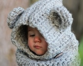 Lil' Cub Cowl, Crocheted Hooded Cowl, Bear Cowl, Hooded Cowl, Chunky Knits