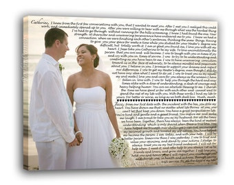 Wedding Vows Wedding Picture, His and Hers vows canvas, Custom Canvas Print with Love Story, Just Married Gift Idea Poem Lyrics