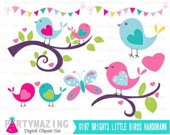 Bird ClipArt Set, Hand drawn Bright Colors Clip ArT Set,  Instant Download,  D198