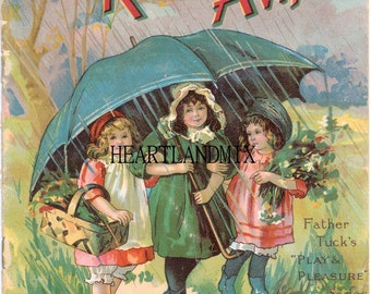 Vintage Digital Image Children under Umbrella while raining Rain, Rain Go Away Download Printable Wall Art