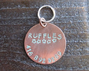 Pet ID Tag - Hand Stamped Round Copper Tag