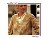VINTAGE knitting pattern pdf, ladies textured cotton sweater, 34 - 38 inch chest, INSTANT DOWNLOAD