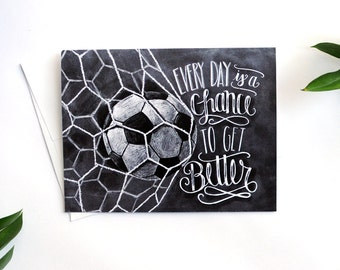 Soccer Card, Soccer Coach Gift, Motivational Quote, Chalkboard Art, Chalk Art, Motivational Art, Encouraging Quote, Sports Cards, Inspiring