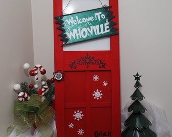 The Grinch Hanging Mini Wood Door, Welcome To Whoville Mini Wood Door, The Grinch Christmas Decoration, Christmas Wreath Alternative