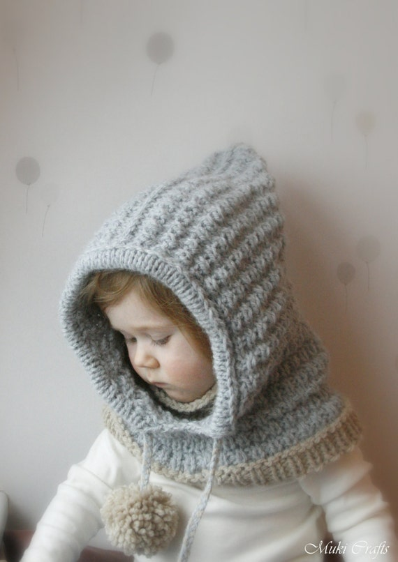 Hooded Cowl Knit Pattern : Hooded cowl Jordan PDF knitting pattern for baby toddler