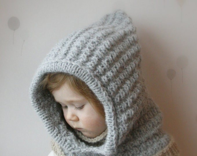 Hooded cowl Jordan PDF knitting pattern for baby, toddler, child and adult sizes