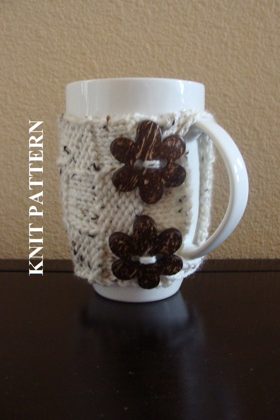 PATTERN 73: Coffee Cup Cozy 18 oz. Knit Coffee Mug by IKnit4aCure