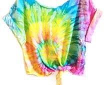 Tie Dye Crop Top Coachella Crop Top TieDye Tshirt Women's Clothing Music Festival Tumblr Tee Hippie Style Tops Hipster Summer Wear TD016