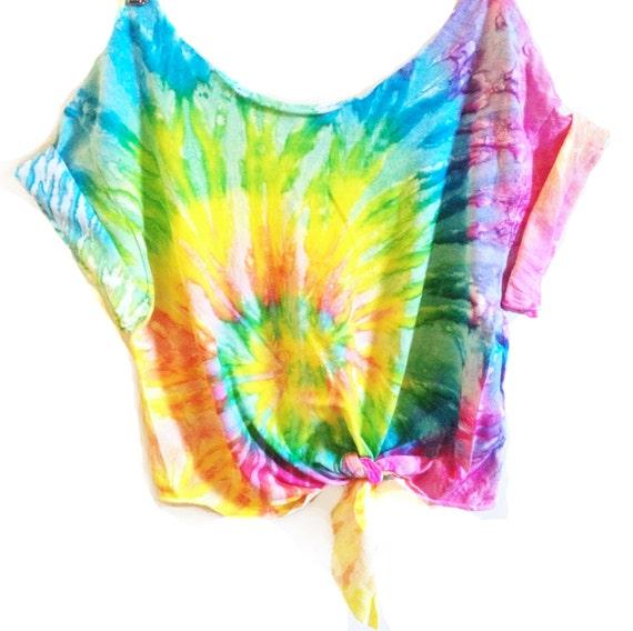 tie dye crop top a crop top tiedye tshirt s by