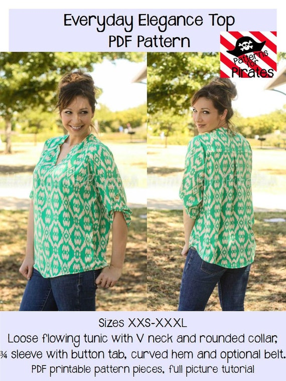 Everyday Elegance Top Tunic Sewing Pdf Pattern By Patterns