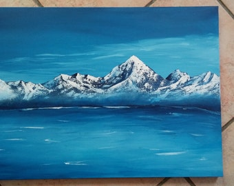 Blue mountains - acrylic paint