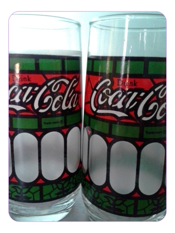 Vintage Coca Cola Frosted Stained Glass Set Of Two
