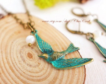 Blue Bird Necklace Bird Jewelry Flying Bird Necklace Sparrow Necklace Verdigris Jewelry Patina Jewelry Rustic Jewelry Woodland Jewelry Gift