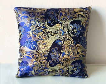 Blue & Gold Metallic Chinese Silk Brocade Cushion Throw Pillow Cover 16x16 or 18x18 inches