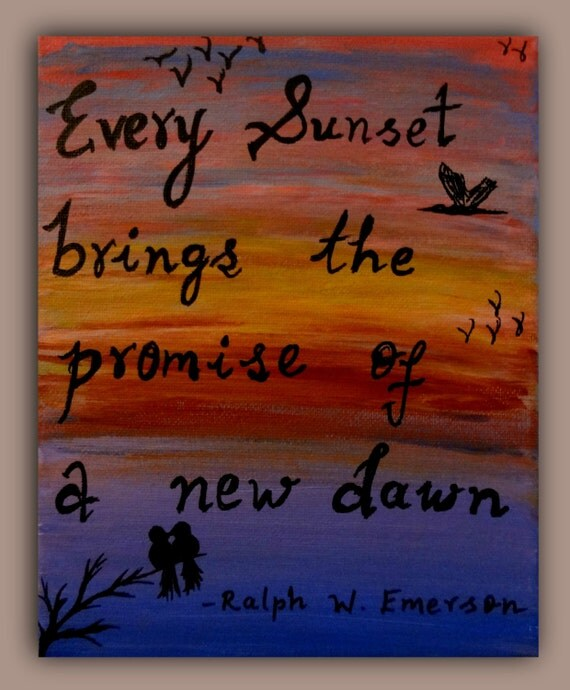 Canvas painting colorful sunset love birds inspirational for Good quotes to paint on my wall