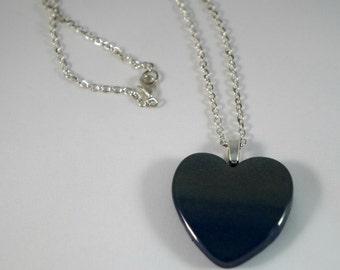 Navy Blue & Gold Sparkle Heart Necklace