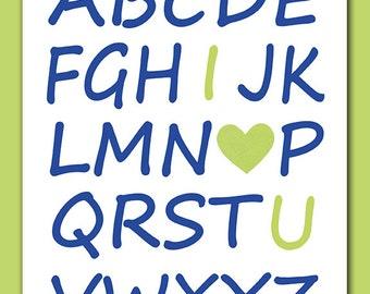 Alphabet Art, I Heart U, I Love You, 8x10 Print, 5x7 Print, Kids Bedroom, Kids Bathroom, Kids Wall Art, ABCs, Love, I Heart You