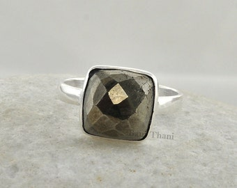 Genuine Pyrite Ring - Bezel Ring Jewelry - Gemstone Ring - Sterling Silver Ring - 10mm Cushion Ring - Birthstone Ring - #1002