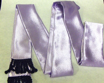 Lavender Shiny Satin Sash w/Black Fringe for Pirate, Ren Faire and Cosplay