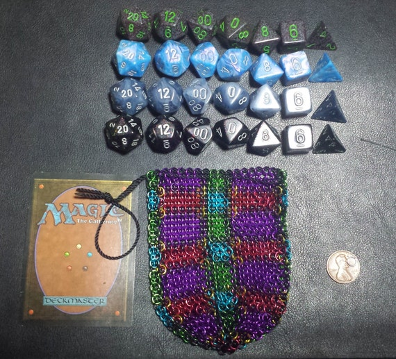 Large Whimsical Plaid Chainmail Dice Bag