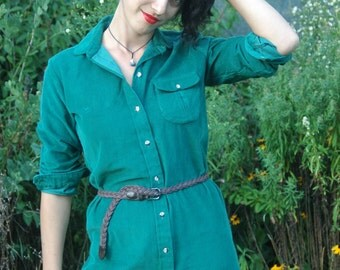 Green Shirt Dress L.L. Bean Corduroy Forest Green Size 8