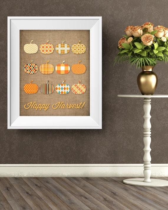 Happy Harvest Fall Sign. Autumn Decorations. Fall Decor.