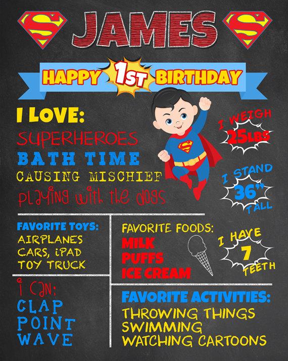 First Birthday Chalkboard Superman Superhero Poster. Boy 1st