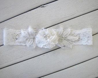 ELENA Style- Lace Wedding Garter, Bridal lace garter, Wedding lace garter, Shabby Chiffon Garter , White lace garter, Bridal white garter