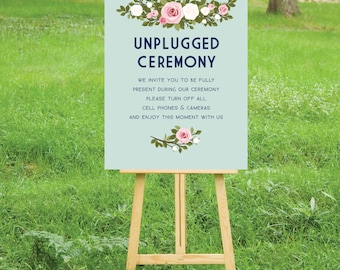 The FRANKIE . Unplugged Roses Wedding Ceremony Sign . PRINT or PDF, Shipping Included. Navy Blush Pink & Gold . Personalized Event Poster