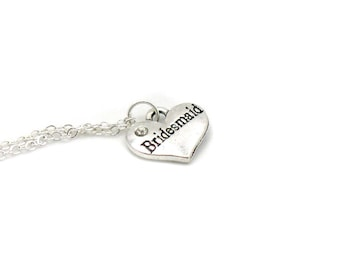 Bridesmaid Necklace, Bridesmaid Charm Jewelry, Wedding Party Charm, Bridesmaid Jewelry, Bridal Party Gift, Jewelry Gift, Gift Under 10