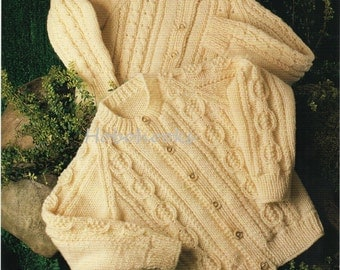 Baby Knitting Pattern Childrens Knitting Pattern aran cable cardigans round neck 20-28 inches ARAN Knitting Pattern - PDF instant download
