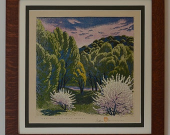 Spring Tesque Valley Mission Style Framed Art in Quartersawn Oak