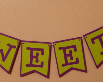 Candy Buffet Banner / Sign - Bright Green and Purple