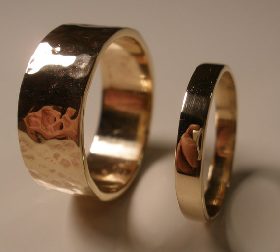 Wedding Band Set Rustic Bronze Rings His Her Friendship Ring