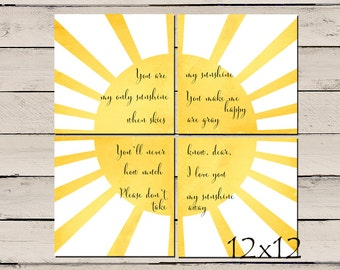 You are my sunshine, You are my sunshine Wall Art, Yellow and Gray Wall Art, Printable Nursery Decor, Nursery Wall art  - 4 - 12x12