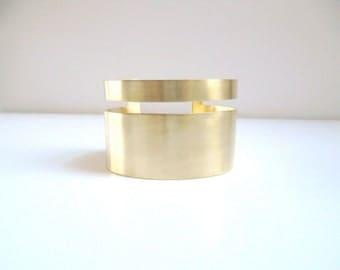Wide cuff bracelet, Brushed brass cuff, Geometric cuff, Wide gold cuff, Brushed gold cuff, Thick cuff, Matte brass, Statement cuff bracelet