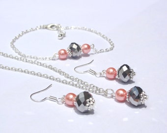 Silver and orange jewelry set, Bridesmaid jewelry Wedding jewelry, flower girl jewelry set, Bridesmaid gifts