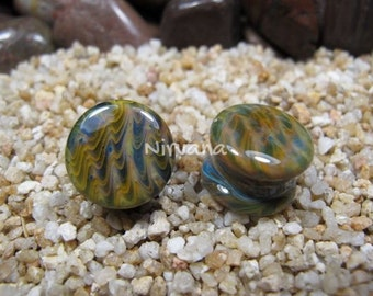 """Exotic Earth Tone Pyrex Glass Plugs Gauges 00g 7/16"""" 1/2"""" 9/16"""" 5/8"""" 3/4"""" 1"""" 9.5 mm 10 mm 12 mm 14 mm 16 mm 18 mm 20 mm 25 mm"""
