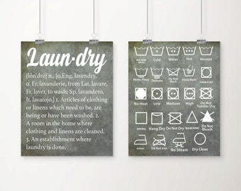 Vintage Laundry Definition and Symbols Art Print Set - Laundry Room Decor - Laundry Art - Set of 2
