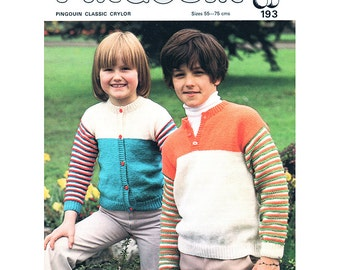 Children's Cardigan & Shirt Knitting Pattern - Pingouin 193