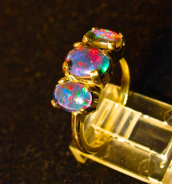 The Perfect engagement ring Genuine Australian Opal ring Three