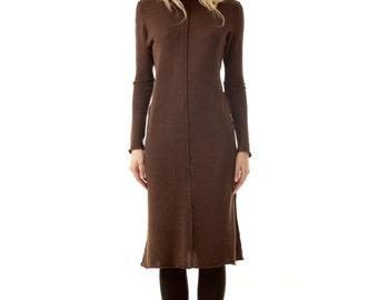Brown knee length dress MADELEINE - 100% merino wool