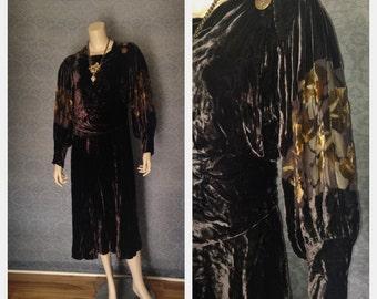 Sumptuous 1920s Silk Devore, Burn Out Velvet, Deep Brown, Gold - Sheer Sleeves, Occasion Dress