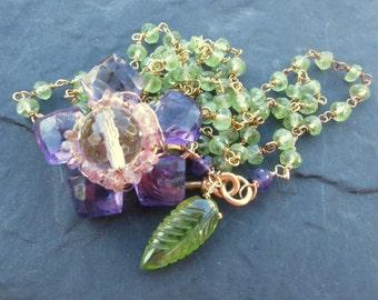 Gemstone flower necklace in gold - amethyst flower, peridot chain - garden fairy - front close necklace - offbeat bride - statement necklace