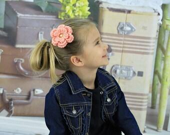 Peach Hair Clip Crochet Flower Hair Clip Flower Barrette Peach Barrette Spring Hair Clup Summer Hair Clip Baby Girl Hair Clip Toddler Girl